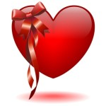 Cuore con Fiocco Rosso-Heart with Red Bow-Vector